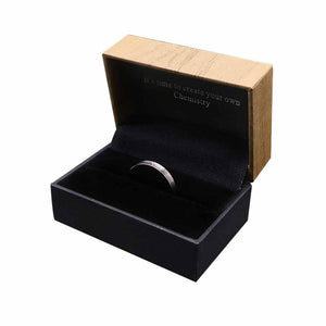 Satin Finish Silver Tungsten Ring with Diamond in Box Packaging