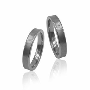 Satin Finish Silver Tungsten Ring with Diamond in Pairs