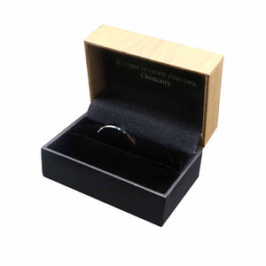 Matte Flat Silver Tungsten Ring with Beveled Edges in Box Packaging