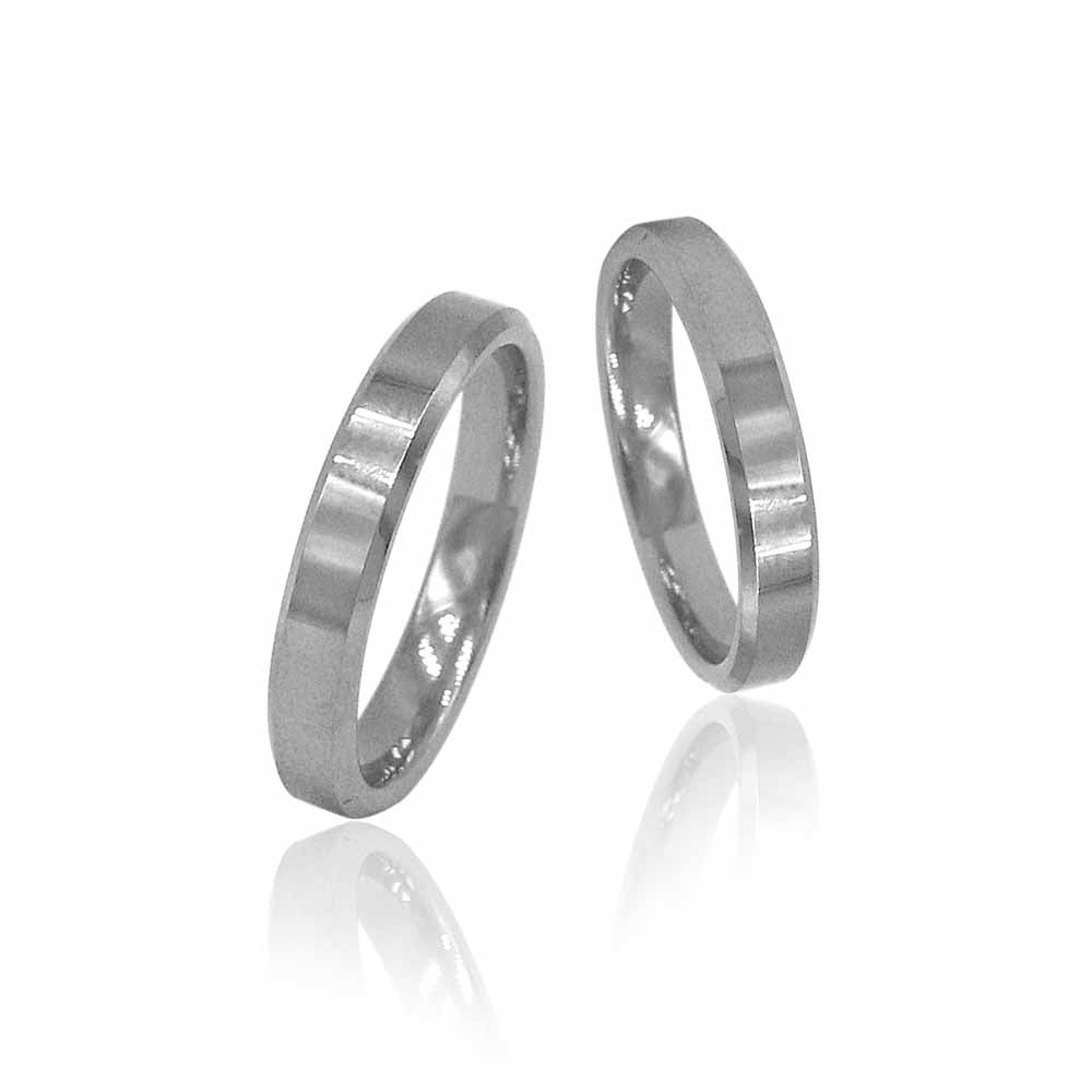 Matte Flat Silver Tungsten Ring with Beveled Edges in Pairs