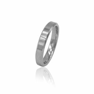 Matte Flat Silver Tungsten Ring with Beveled Edges