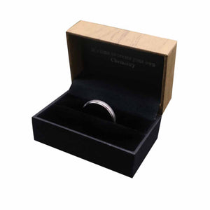 The Aztec Silver Tungsten Ring in Box Packaging