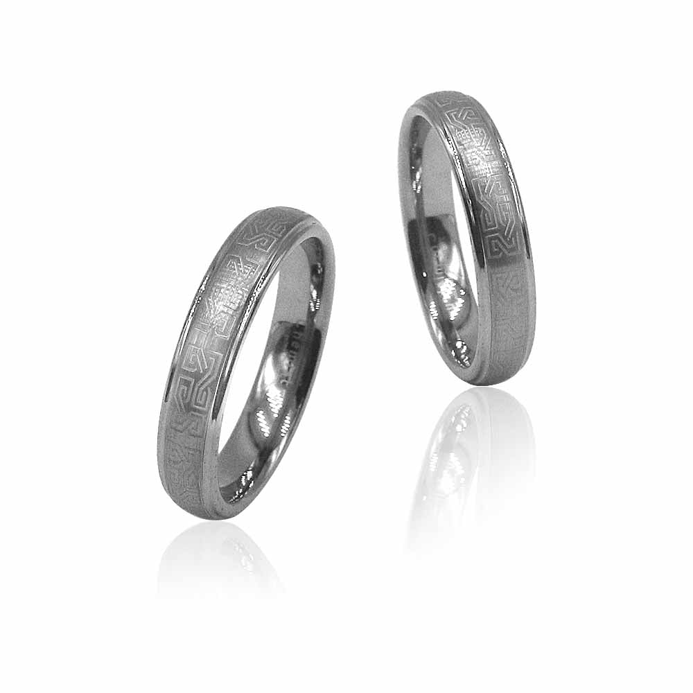 The Aztec Silver Tungsten Ring in Pairs