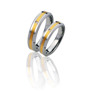 Leveled Two-Tone Tungsten Ring with Diamond in Pairs