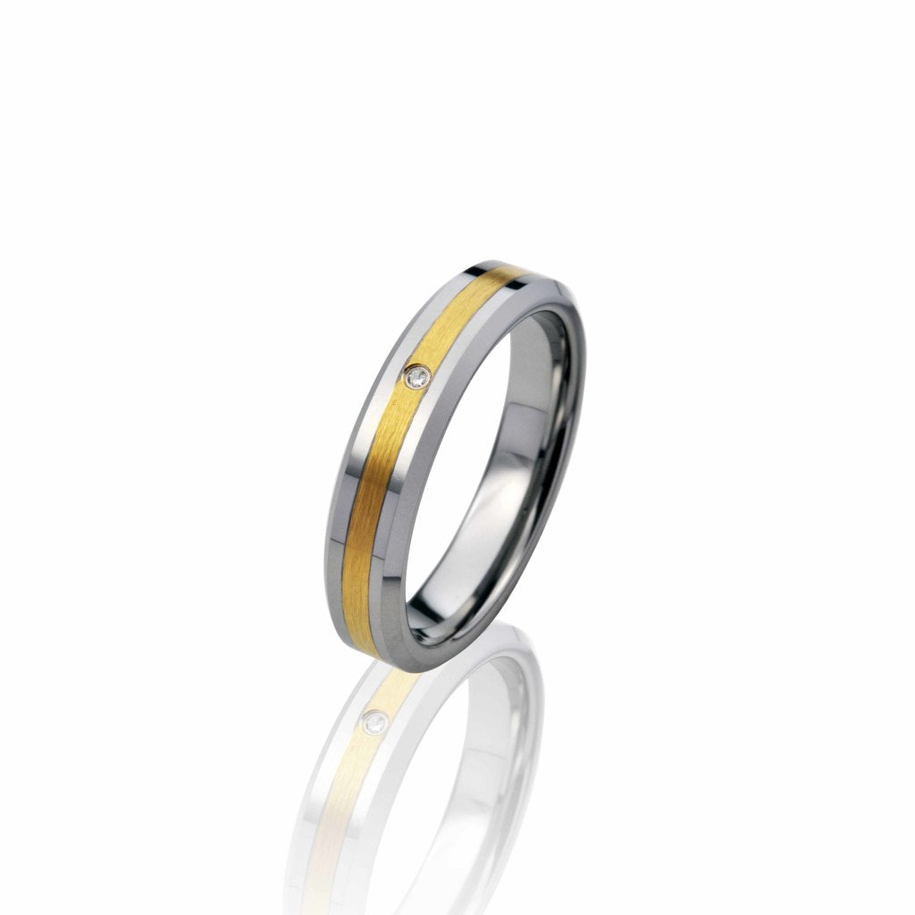 Leveled Two-Tone Tungsten Ring with Diamond