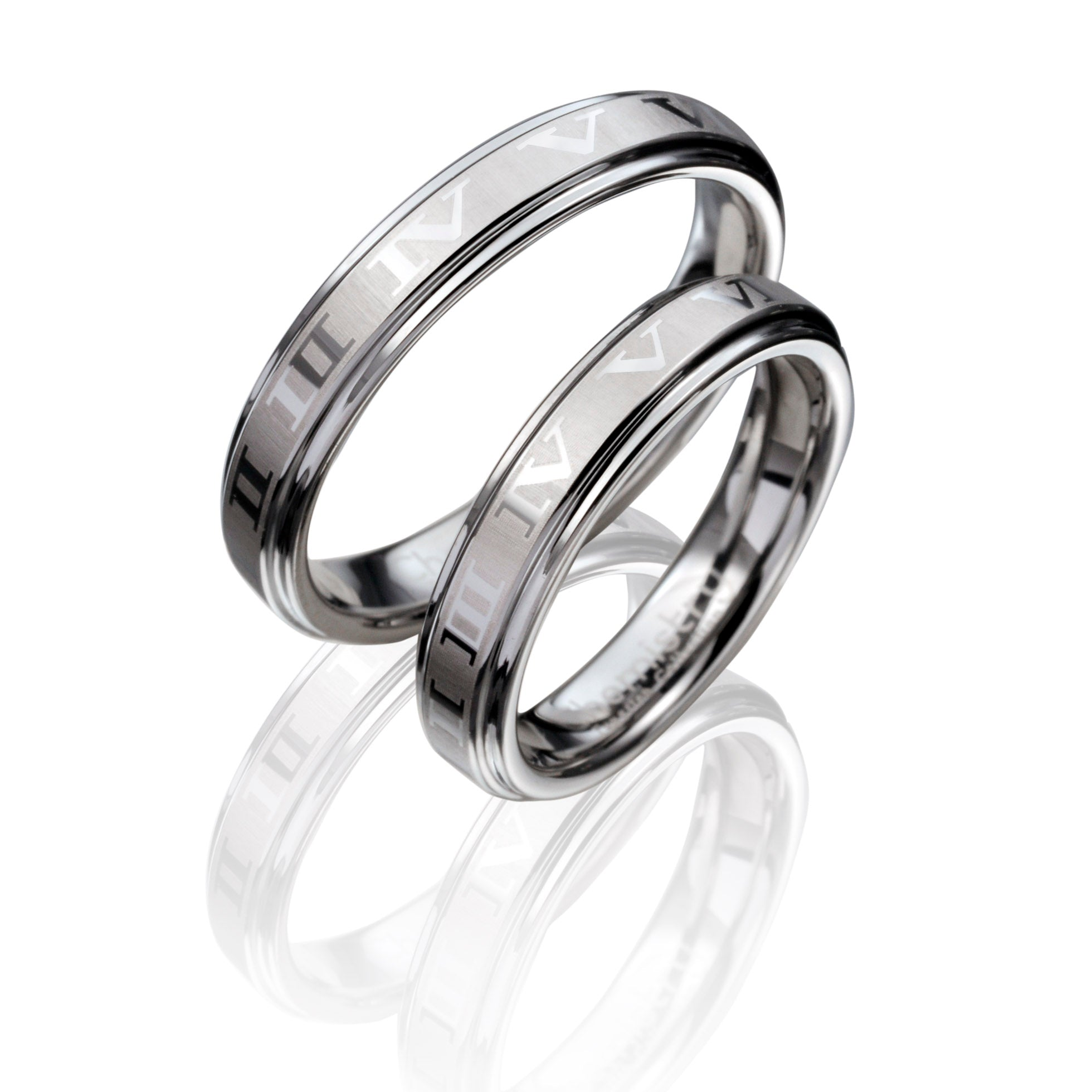 Romantic Roman Numeral Etched Silver Tungsten Ring in Pairs