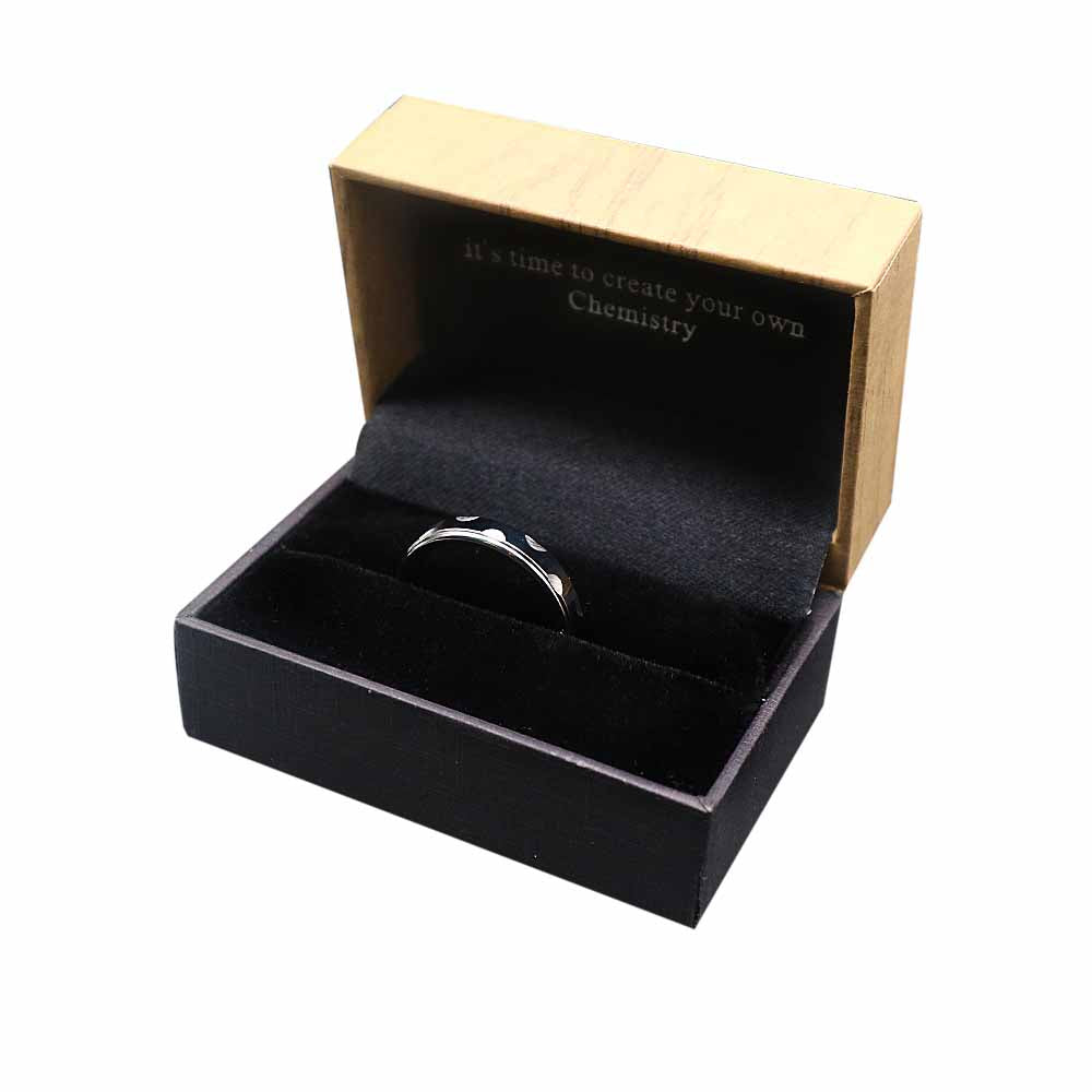 Scallop Etched Silver Tungsten Ring in Box Packaging
