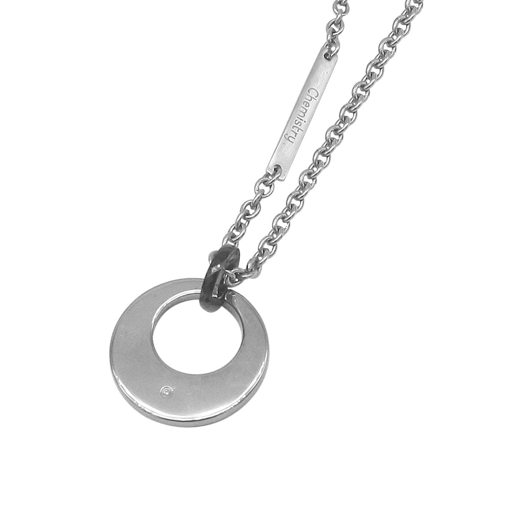 Double Circle Cut Out Tungsten Pendant with Diamond and Stainless Steel Necklace