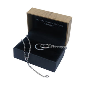 Entangled Circle Silver Tungsten Necklace (Small) in Box Packaging