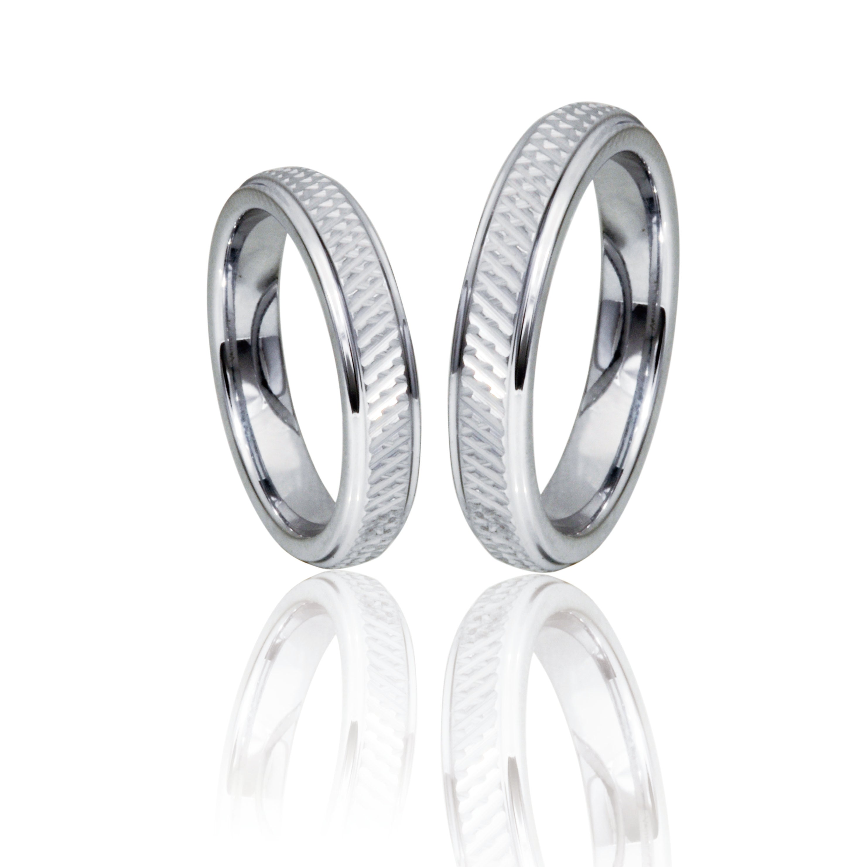 Criss Cross Silver Tungsten Ring with Polished Edges in Pairs