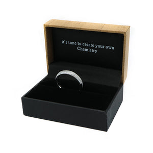 Criss Cross Silver Tungsten Ring with Polished Edges in Box Packaging