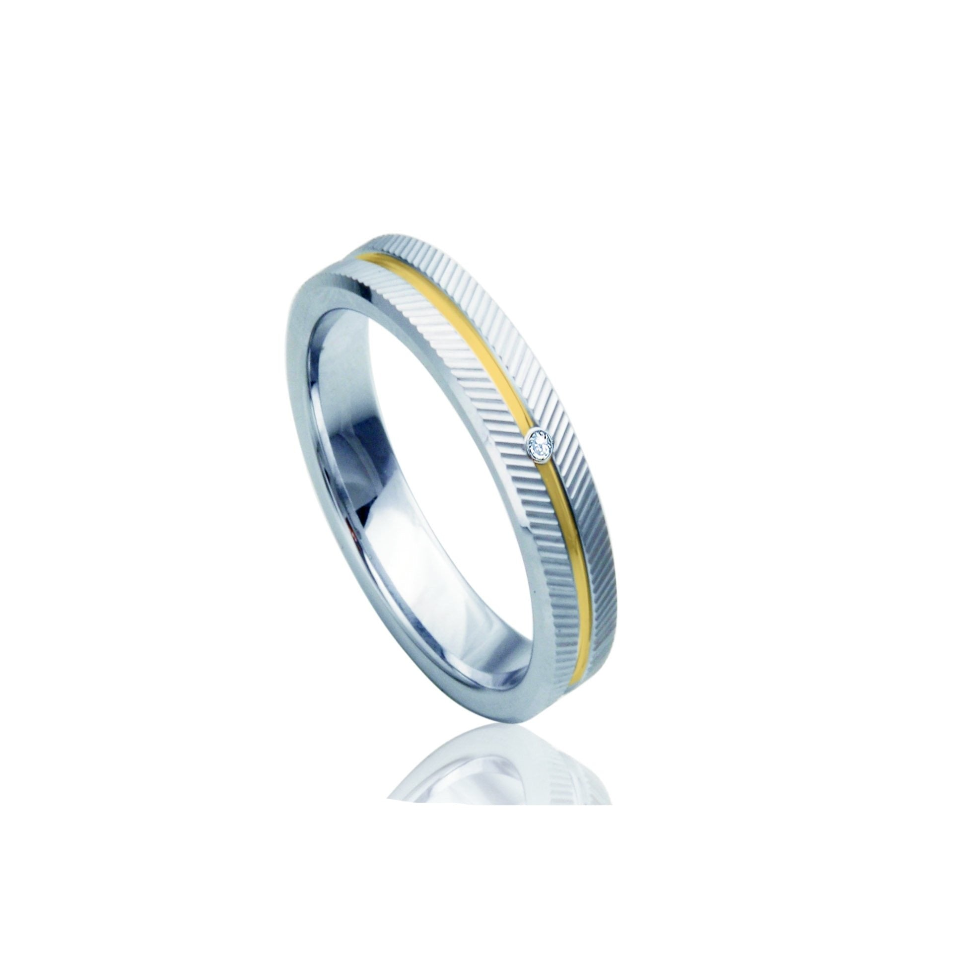 Etched Arrow Two-Tone Tungsten Ring with Diamond