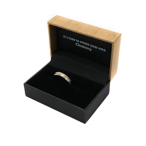 Etched Arrow Two-Tone Tungsten Ring with Diamond in Box Packaging