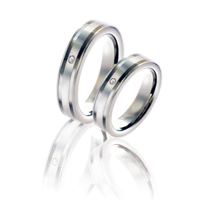 Seamless Matte and Polished Silver Tungsten Ring with Diamond in Pairs