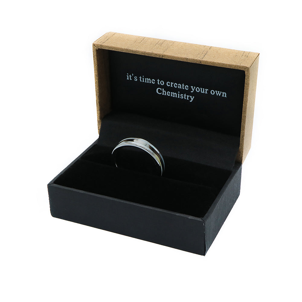 Seamless Matte and Polished Silver Tungsten Ring with Diamond in Box Packaging