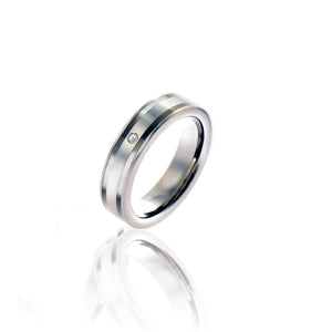 Seamless Matte and Polished Silver Tungsten Ring with Diamond