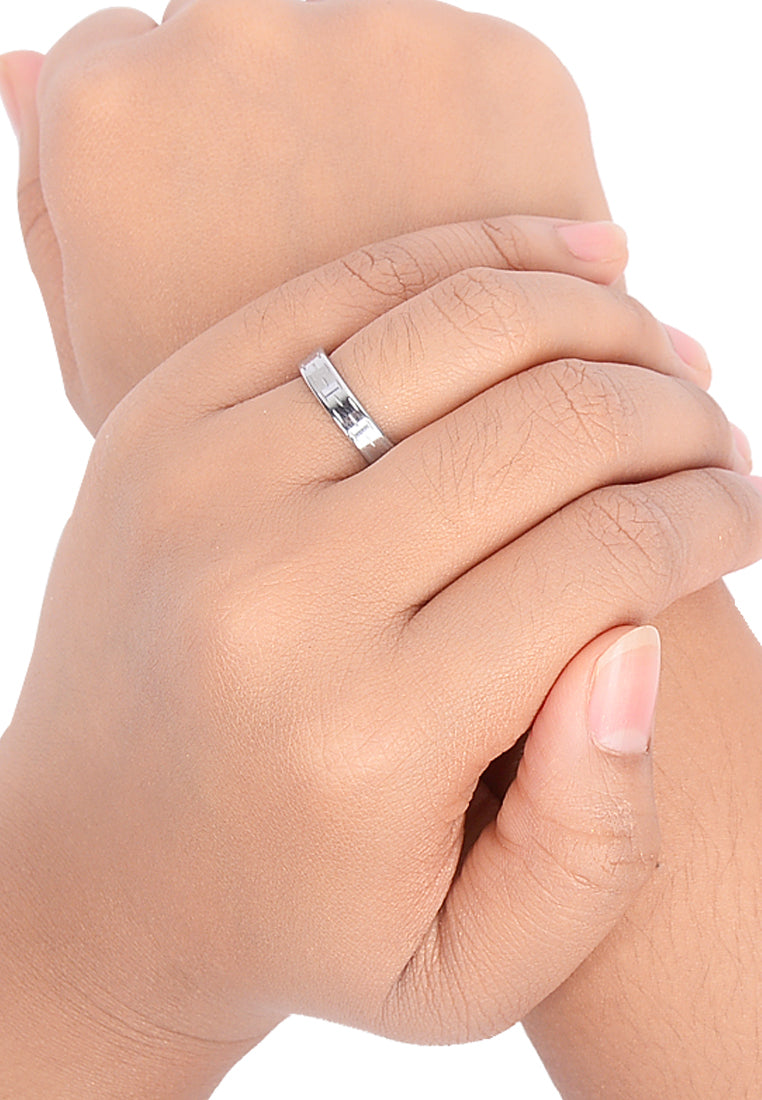 Chiseled Design Silver Tungsten Ring on Hand Model