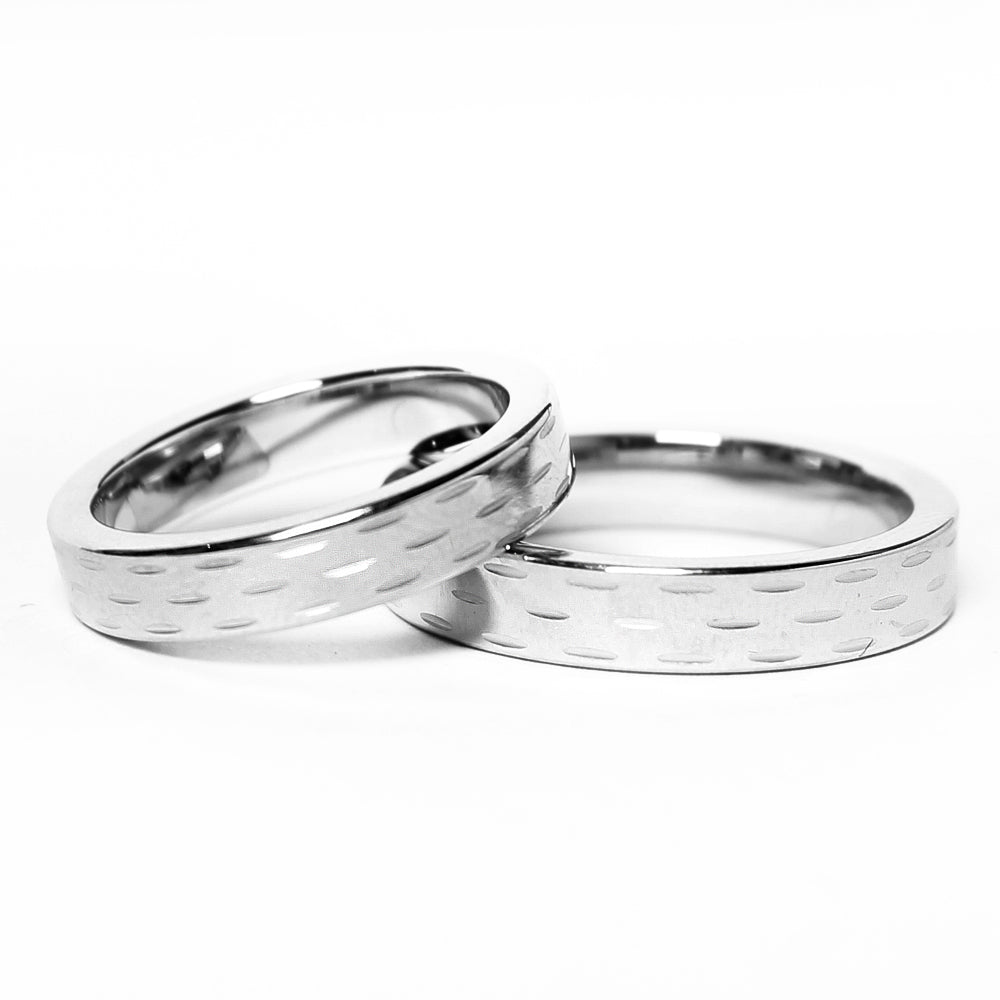 Chiseled Design Silver Tungsten Ring in Pairs