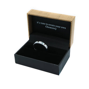 Chiseled Design Silver Tungsten Ring in Box Packaging