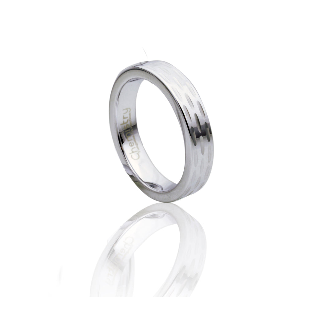 Chiseled Design Silver Tungsten Ring