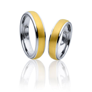 Classic Gold and Grey Two-Tone Tungsten Ring in Pairs