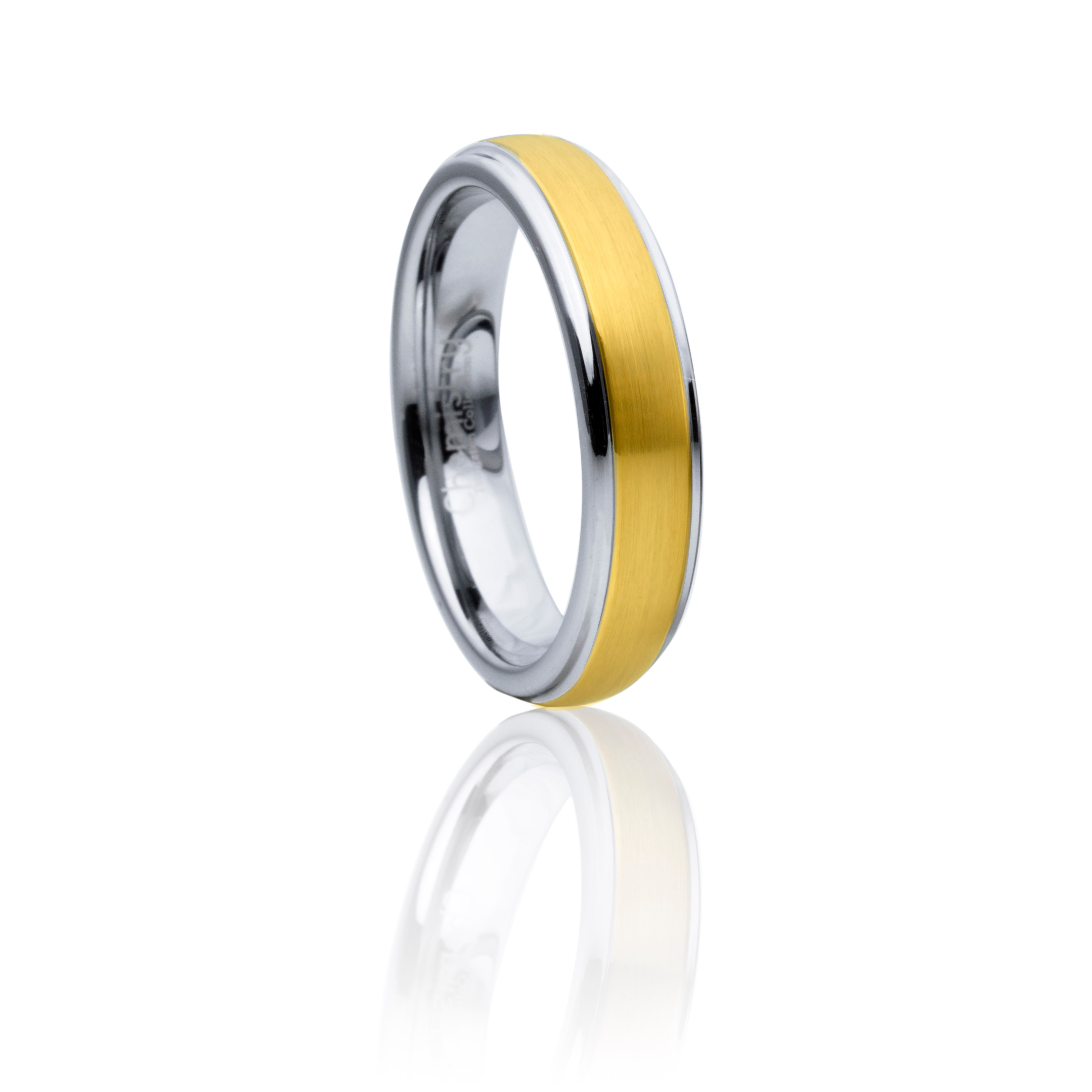 Classic Gold and Grey Two-Tone Tungsten Ring