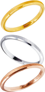 Versatile Tricolor Stacking Tungsten Rings