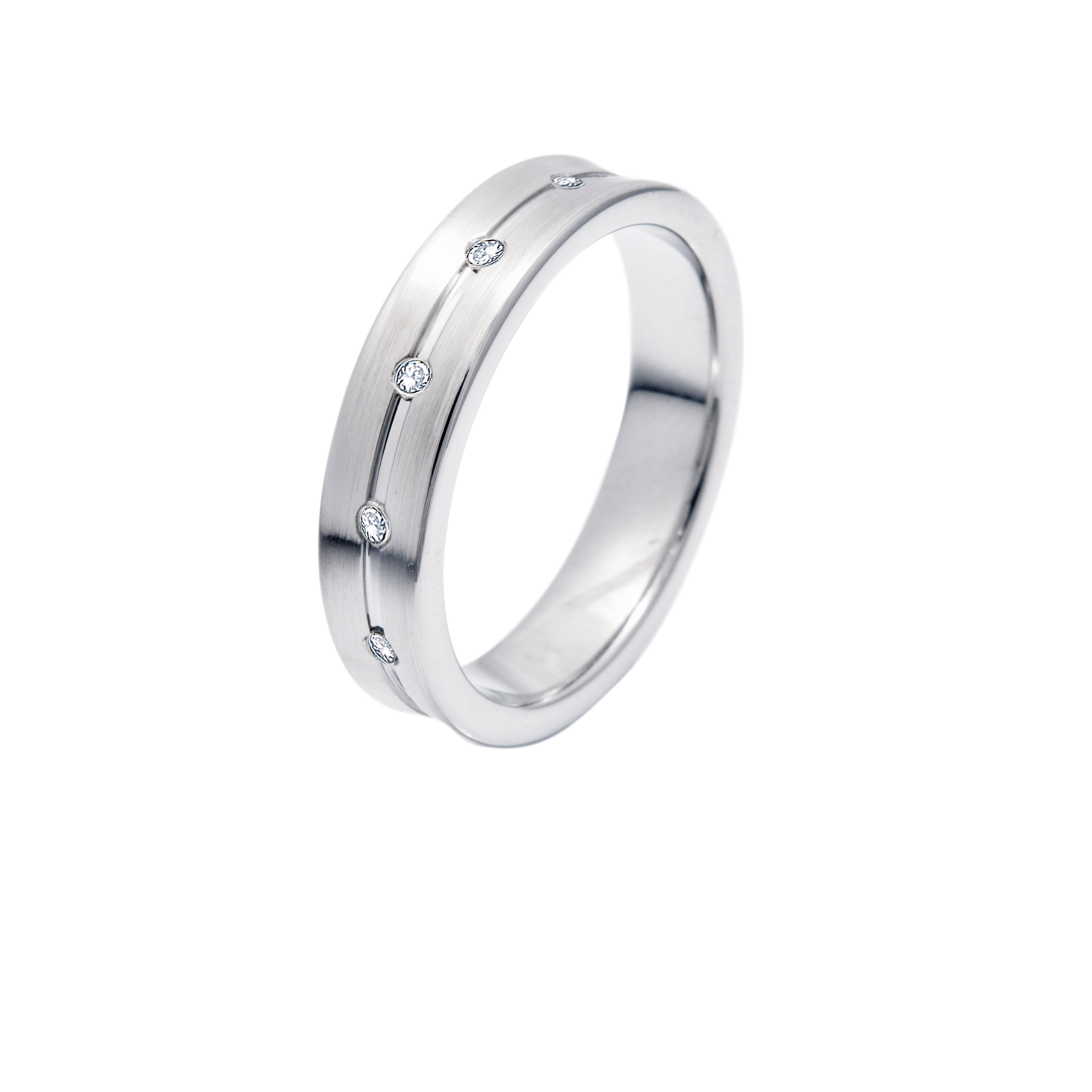 The Supreme Classic Silver Tungsten Ring with Diamonds in Five Rows