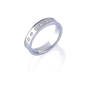 The Superior Silver Tungsten Ring with Diamonds in Five Rows