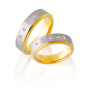 Interior Exterior Two-Tone Tungsten Ring with Diamonds in Five Rows in Pairs