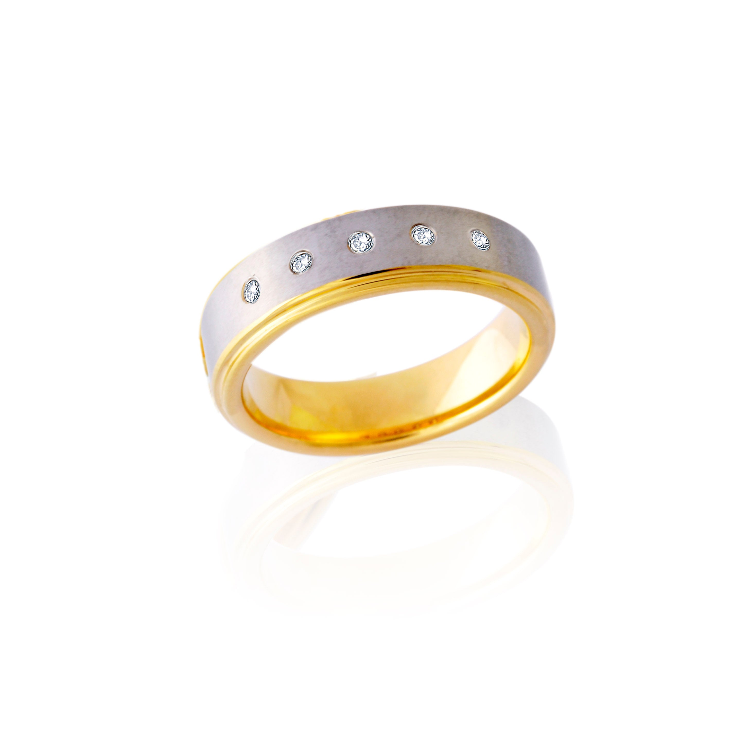 Interior Exterior Two-Tone Tungsten Ring with Diamonds in Five Rows