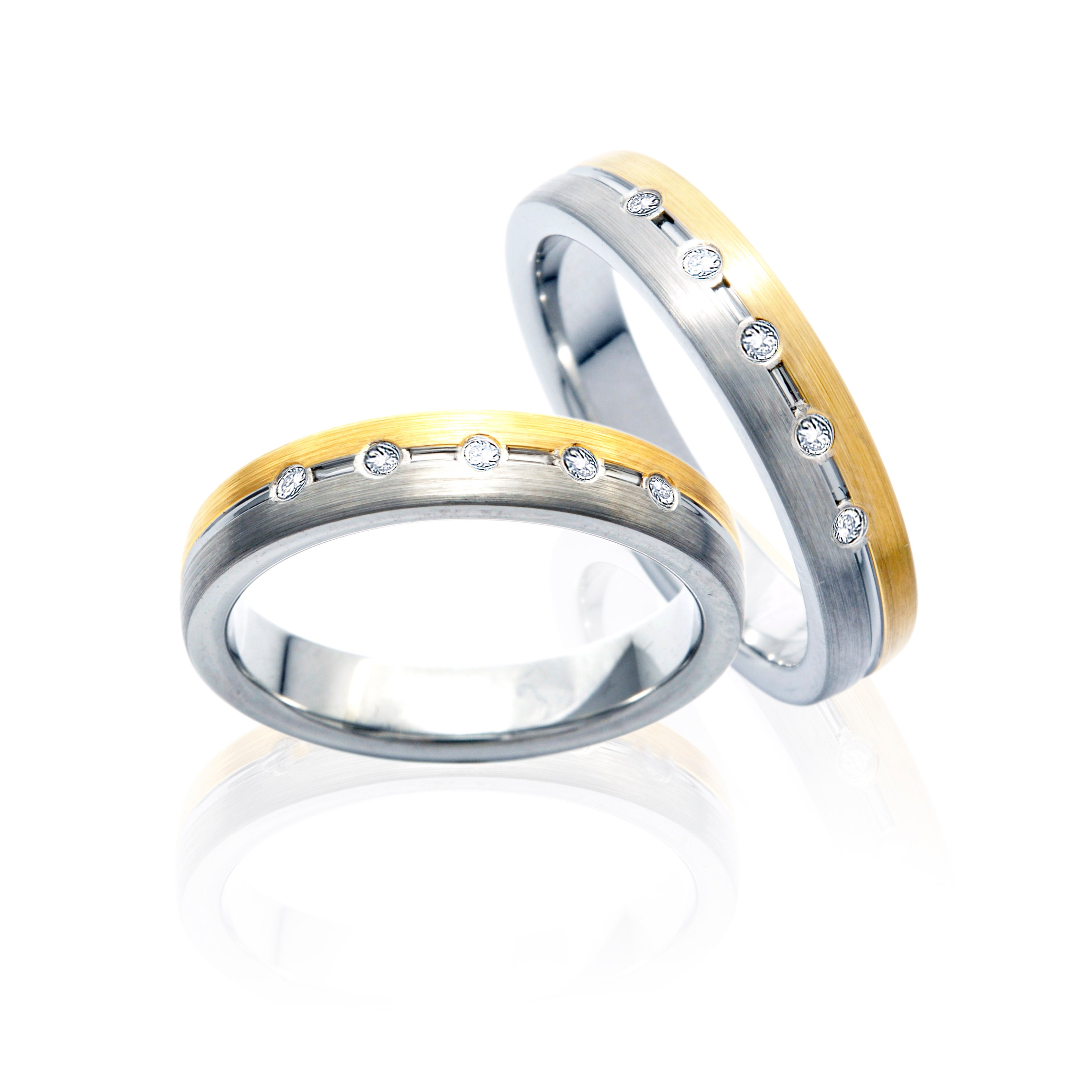 The SUPREME Two-Tone tone Tungsten Ring with Diamonds in Five Rows in Pairs