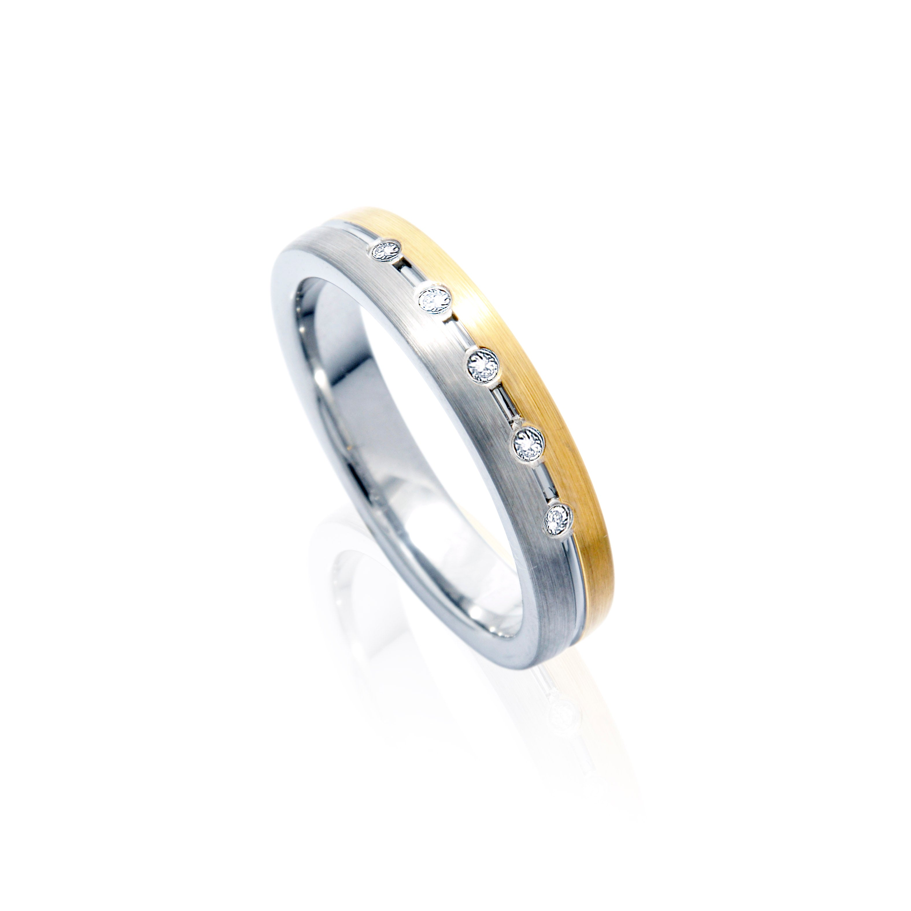 The SUPREME Two-Tone tone Tungsten Ring with Diamonds in Five Rows