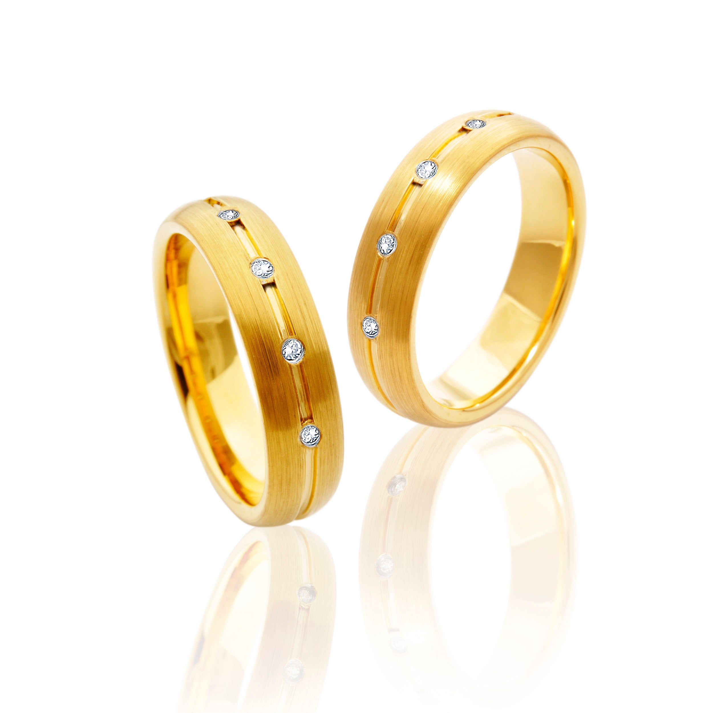 All Gold Tungsten Ring with Diamonds in Five Rows in Pairs