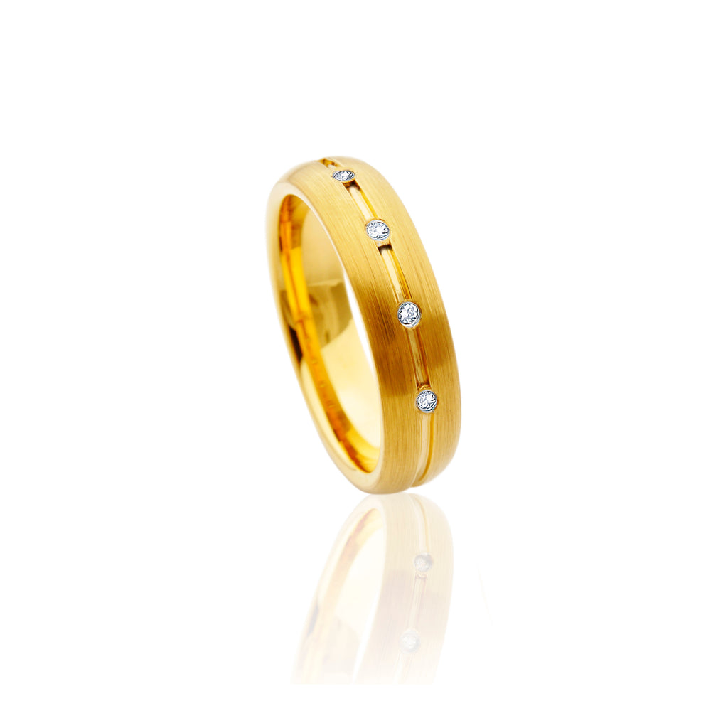 All Gold Tungsten Ring with Diamonds in Five Rows