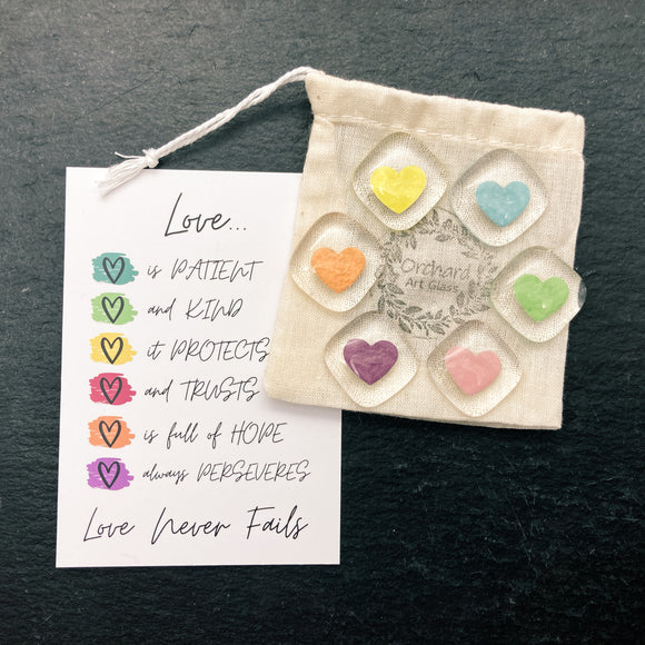 set of 6 colourful heart fridge magnets