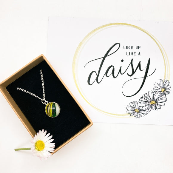 Daisy Glass Cabochon Necklace