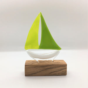 Glass Sailing Boat - Green