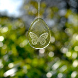 Glass Easter Egg Butterfly Decoration