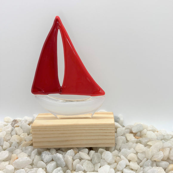 Glass Sailing Boat - Red
