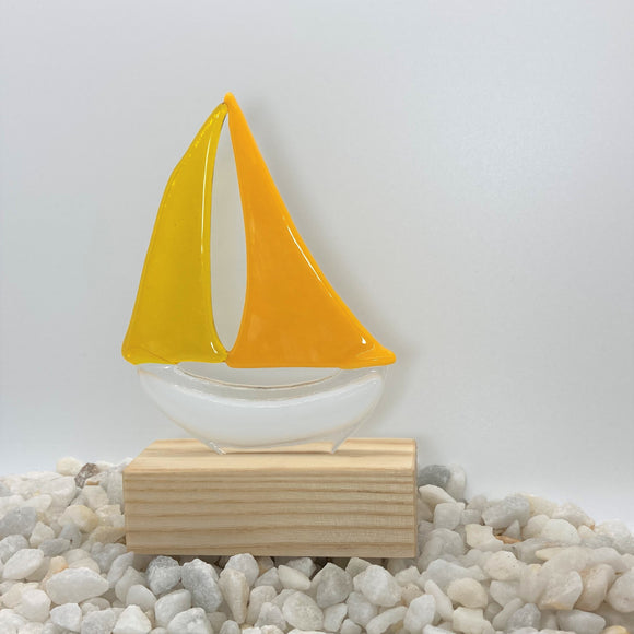 Glass Sailing Boat - Yellow