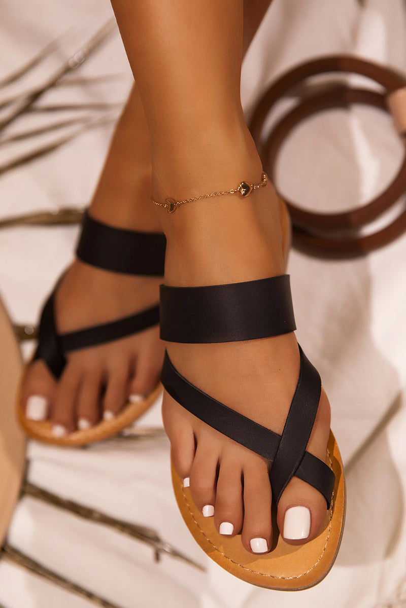 Black Toe Thong Sandals