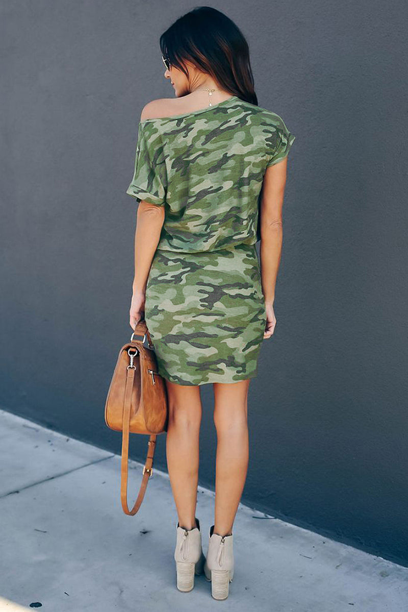 One Shoulder Camo Mini Dress