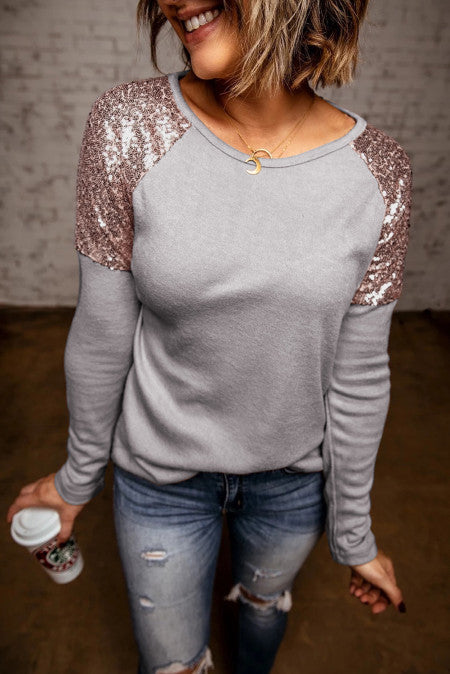 Sequin Shoulder Top