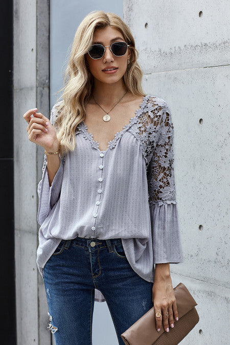 Lace Button Top