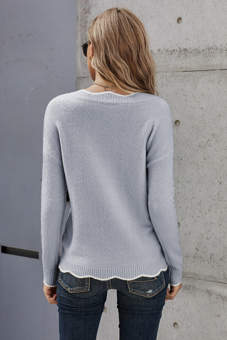 Wavy V-Neck Sweater