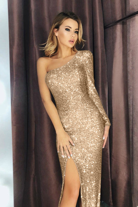 Front Slit Sequin Gown