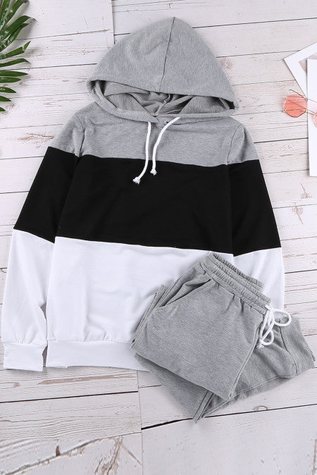 Colorblock Hooded Top and Pant Set