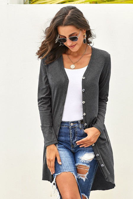 Button Down Long Cardigan