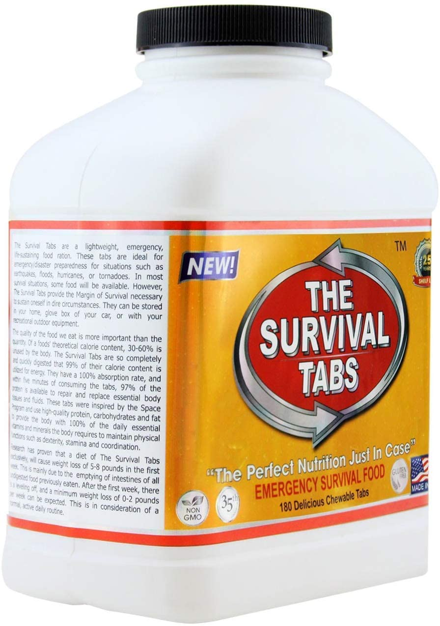 1-year emergency food tabs chocolate 25year shelf life none GMO gluten-free